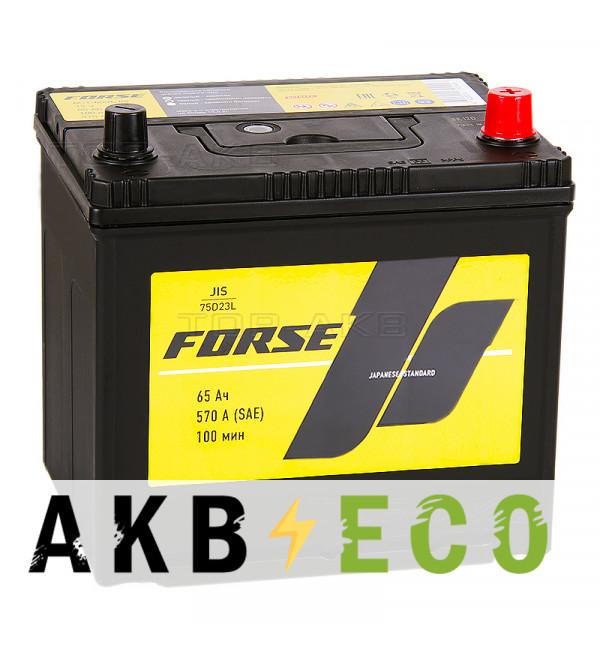 Автомобильный аккумулятор Forse JIS 75D23L 65 Ач 570А обратная пол. (230x170x225)