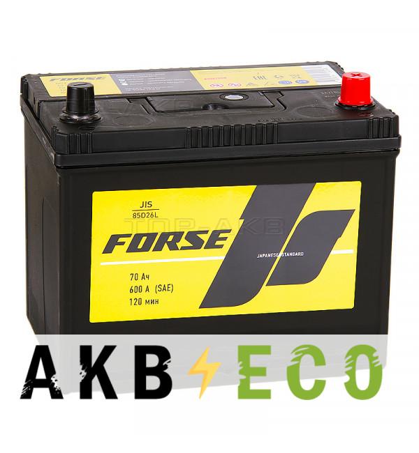 Автомобильный аккумулятор Forse JIS 85D26L 70 Ач 600А обратная пол. (260x173x225)
