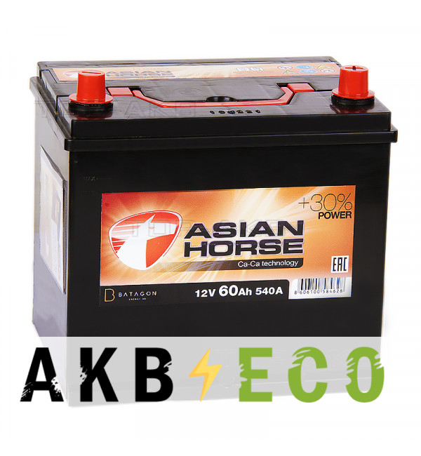 Автомобильный аккумулятор Asian Horse 60R 540A 232x173x225