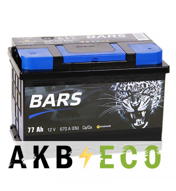 Автомобильный аккумулятор Bars 77R 670A 278x175x190
