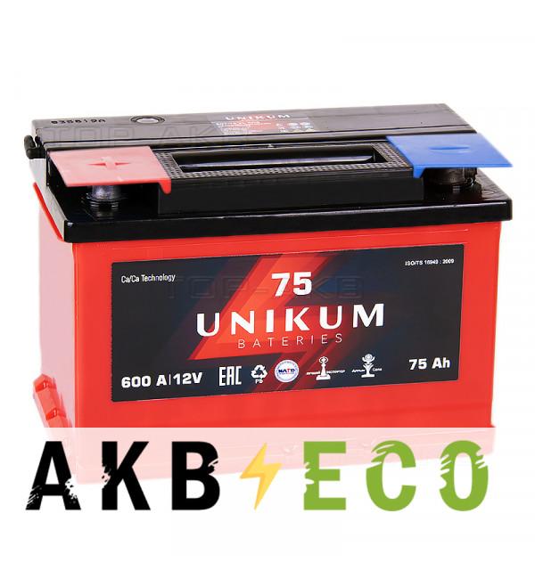Автомобильный аккумулятор UNIKUM 75L 600A (278x175x190)