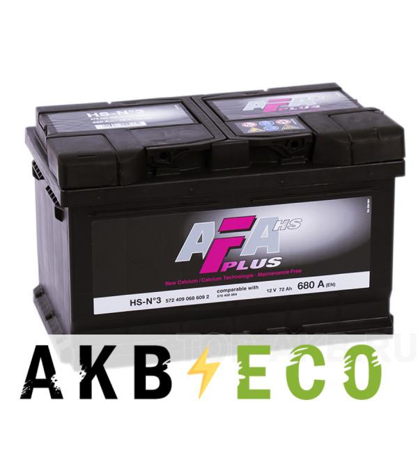 Автомобильный аккумулятор AFA Plus 72R низкий 680A (278x175x175) HS-N3