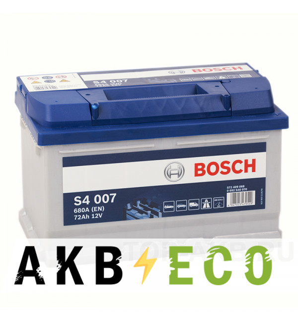 Автомобильный аккумулятор Bosch S4 007 72R 680A 278x175x175