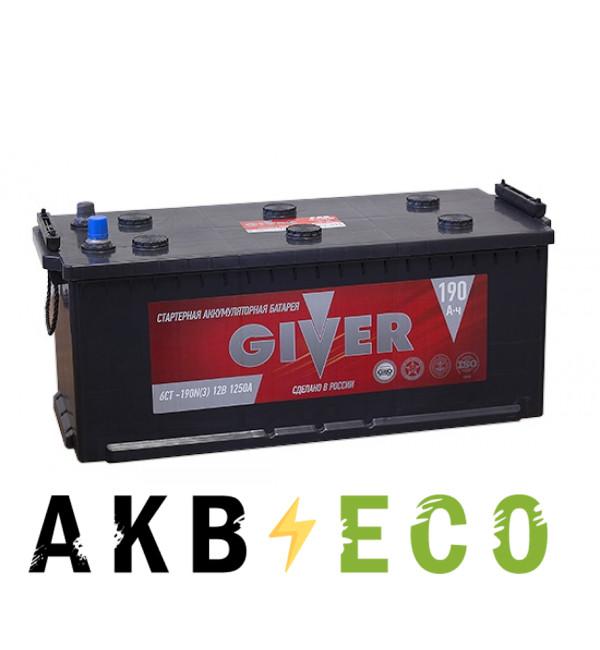 Грузовой аккумулятор Giver 190 евро (1250A 516x223x223)