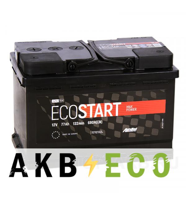 Автомобильный аккумулятор Ecostart 77R (680А 278x175x190)