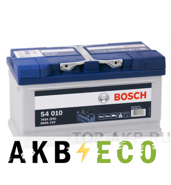 Автомобильный аккумулятор Bosch S4 010 80R 740A 315x175x175