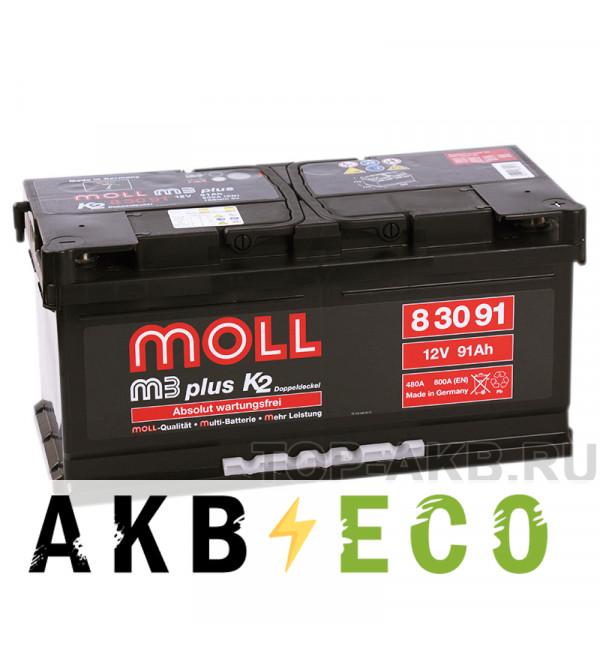 Автомобильный аккумулятор Moll M3plus 91R 800A 353x175x175