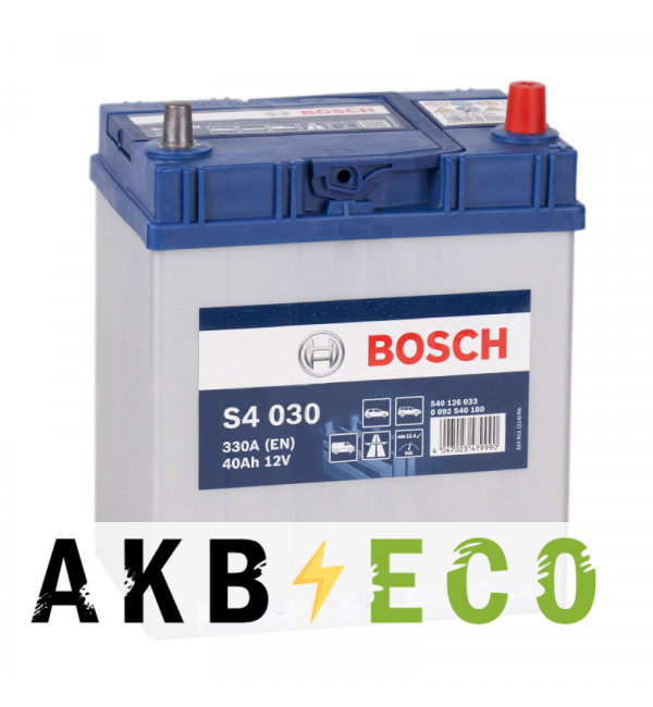 Автомобильный аккумулятор Bosch S4 030 40R 330A 187x127x227