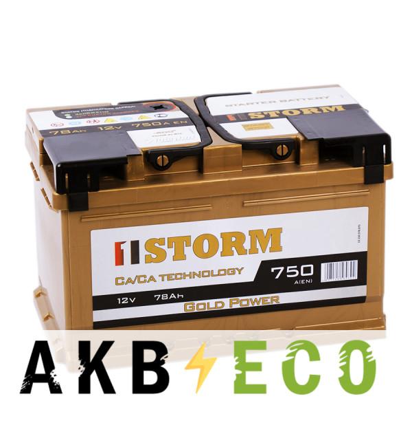 Автомобильный аккумулятор Storm Gold 78R низкий 750A 278x175x175