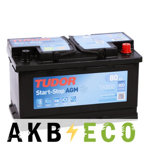 Автомобильный аккумулятор Tudor Start-Stop AGM 80R (800A 315x175x190) TK800