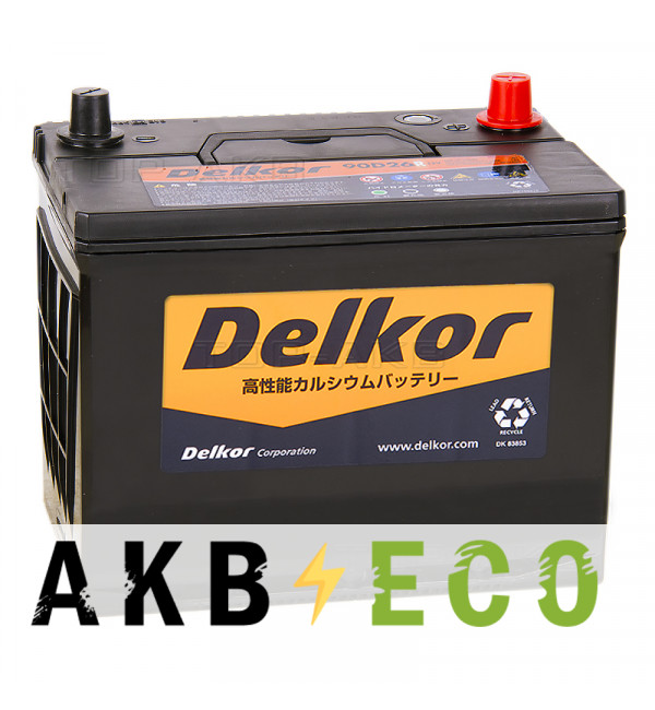 Автомобильный аккумулятор Delkor 90D26R (80L 680A 260x173x225)
