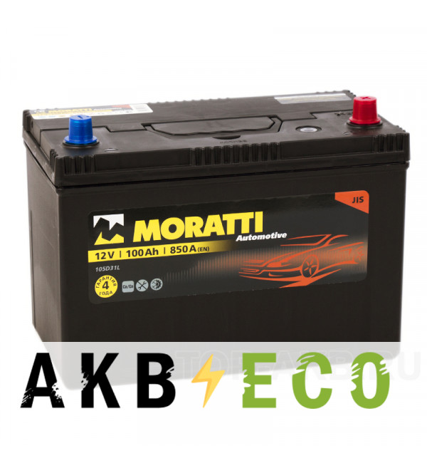 Автомобильный аккумулятор Moratti Asia 100R 850А 301x175x220 D31L