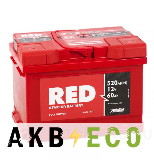 Автомобильный аккумулятор Red 60R низкий (520A 242x175x175)