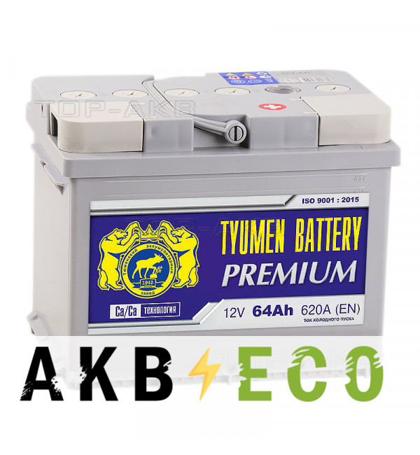 Автомобильный аккумулятор Tyumen Battery Premium 64 Ач обр. пол. 620A (242x175x190)