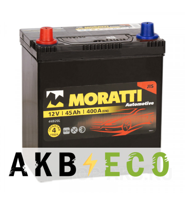 Автомобильный аккумулятор Moratti Asia 45L 400А 187x127x227 B19R