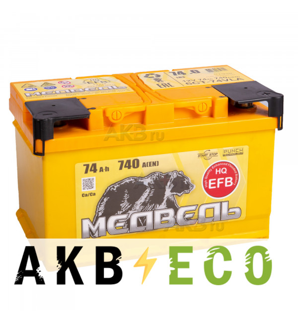 Автомобильный аккумулятор Тюменский медведь EFB 74 Ач обр. пол. 740A (278x175x175)