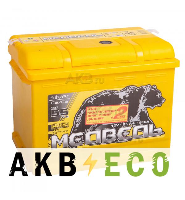 Автомобильный аккумулятор Тюменский медведь Сa/Сa 55 Ач прям. пол. 510A (242x175x190) Silver