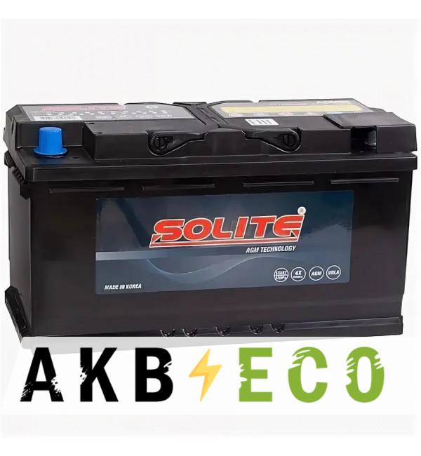 Автомобильный аккумулятор Solite AGM 95Ah 850A (353x175x190) о/п