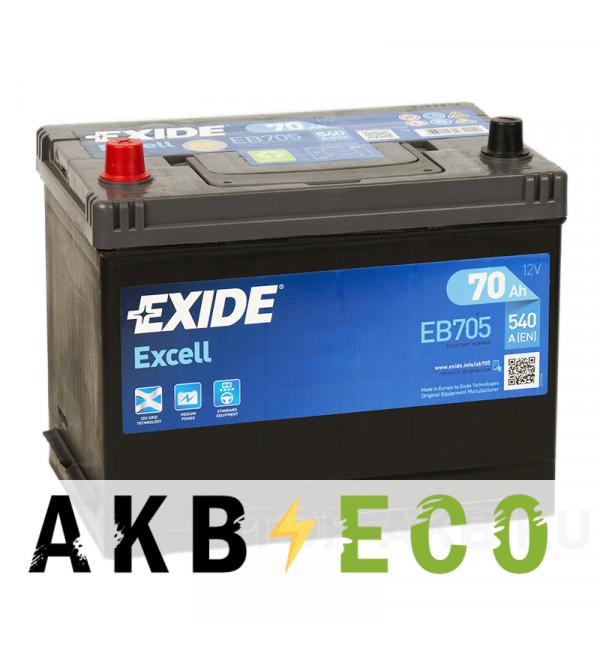 Автомобильный аккумулятор Exide Excell 70L (540A 261x173x225) EB705