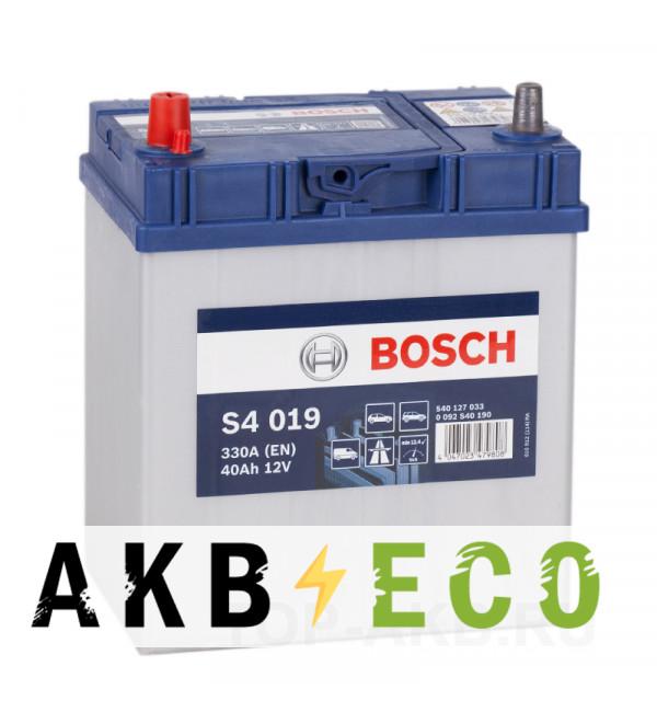 Автомобильный аккумулятор Bosch S4 019 40L 330A 187x127x227