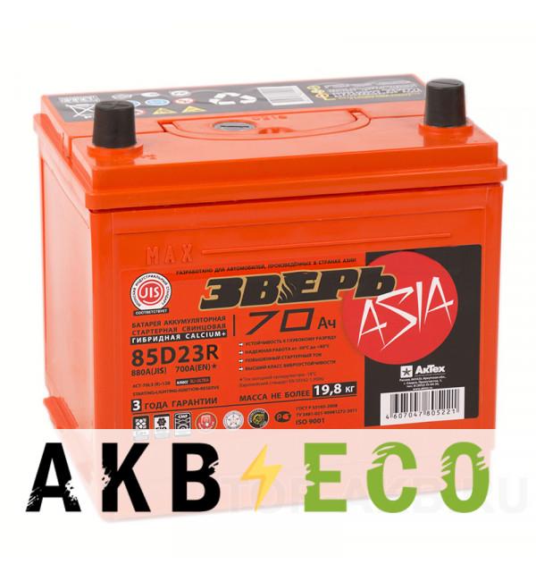 Автомобильный аккумулятор Зверь 85D23R (70L 700A 235х175х221)