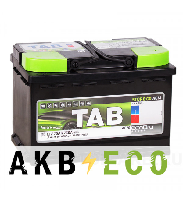 Автомобильный аккумулятор Tab AGM Stop-n-Go 70R (760A 278x175x190) 213070