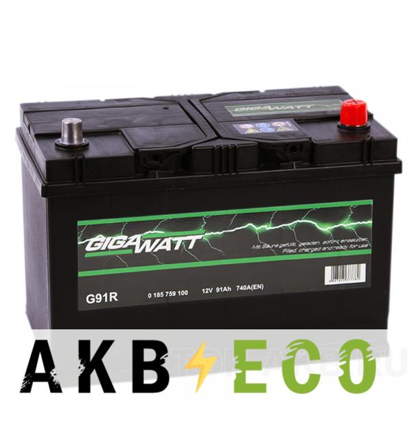 Автомобильный аккумулятор Gigawatt 91R 740A (306x173x225) G91R