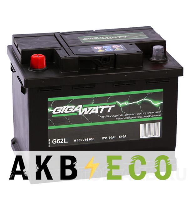Автомобильный аккумулятор Gigawatt 60L 540A (242x175x190)