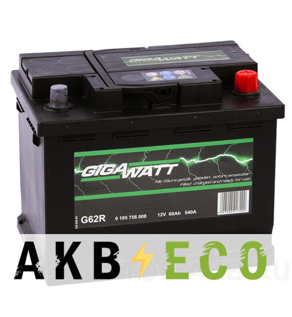 Автомобильный аккумулятор Gigawatt 60R 540A (242x175x190)