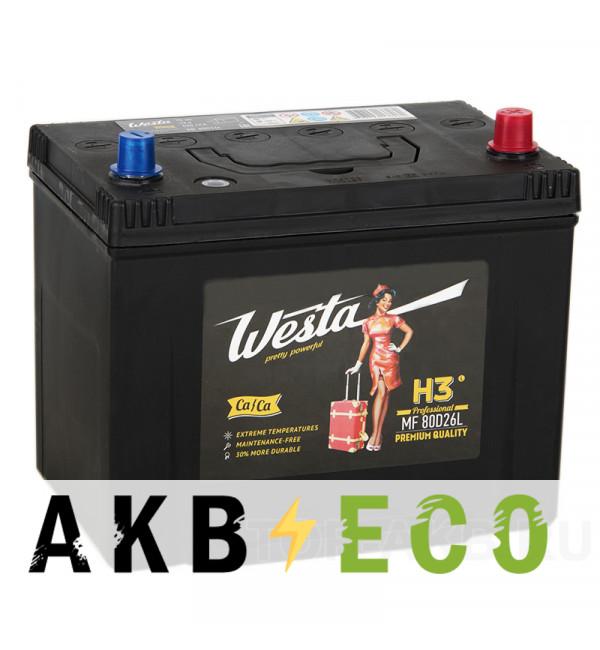 Автомобильный аккумулятор Westa 80D26L (70R 620A 260x173x225)