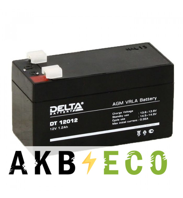 Автомобильный аккумулятор Delta DT 12012, 12V 1.2Ah (97x44x59)