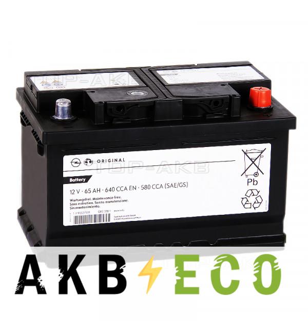 Автомобильный аккумулятор GM 65 Ач обратная пол. 640А (278x175x175) 95527531