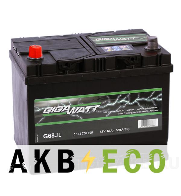 Автомобильный аккумулятор Gigawatt 68L 550A (261x175x220) G68JL