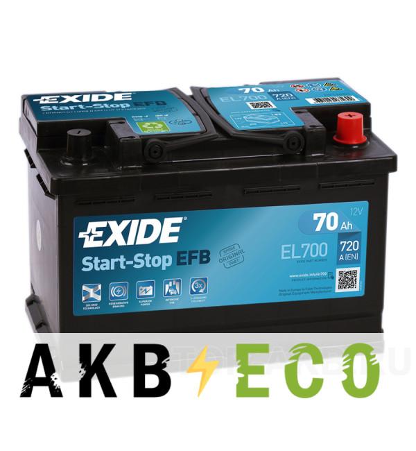 Автомобильный аккумулятор Exide Start-Stop EFB 70R (720А 278x175x190) EL700