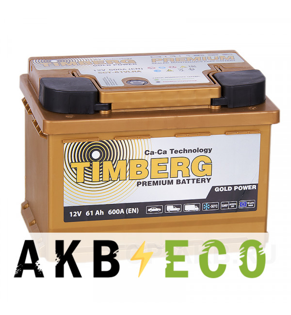 Автомобильный аккумулятор Timberg Gold 61R низкий 600A 242х175х175