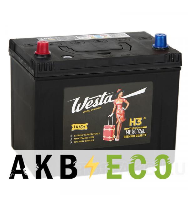 Автомобильный аккумулятор Westa 80D26R (70L 620A 260x173x225)