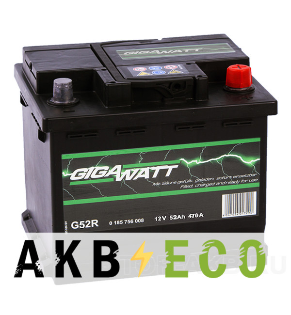 Автомобильный аккумулятор Gigawatt 52R 470A 207x175x175