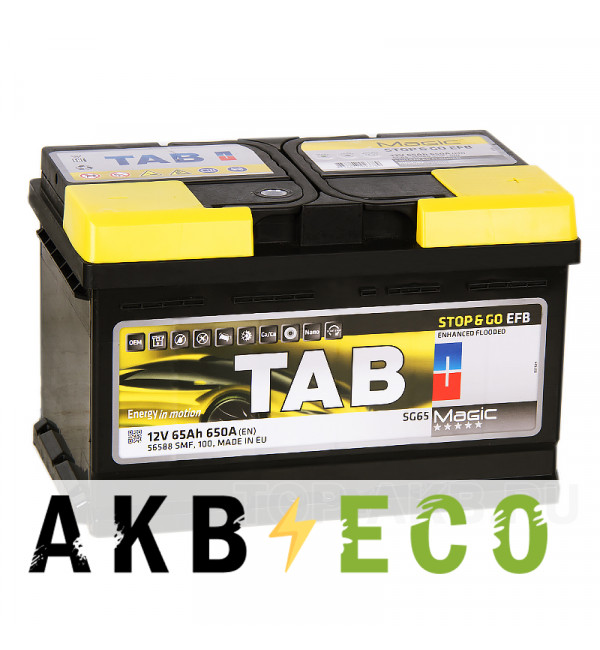 Автомобильный аккумулятор Tab EFB Stop-n-Go 65R (650A 278x175x175) 212065 56588