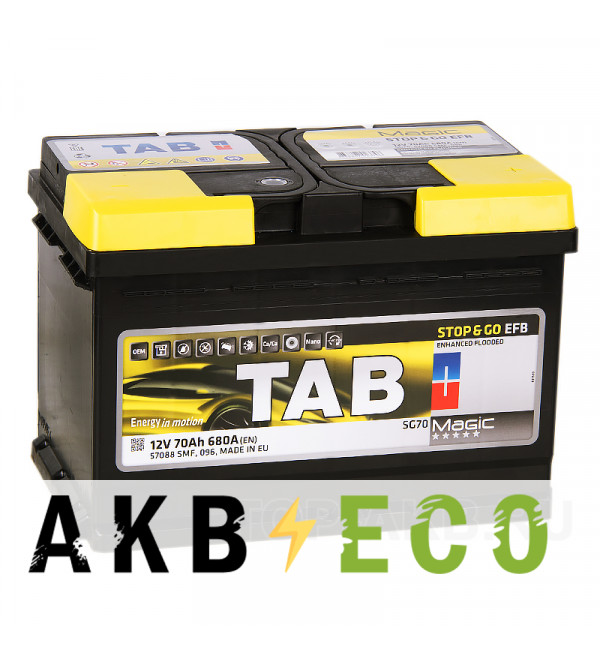 Автомобильный аккумулятор Tab EFB Stop-n-Go 70R (680A 278x175x190) 212070 57088