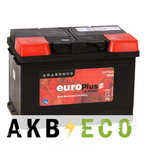 Автомобильный аккумулятор Europlus 75R 680A (278x175x190) 111075