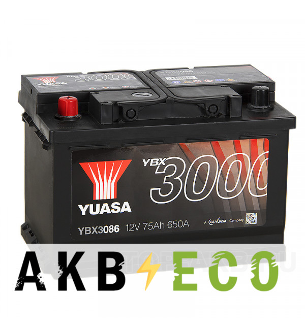 Автомобильный аккумулятор YUASA YBX3000 75L (650А 278x175x190) YBX3086