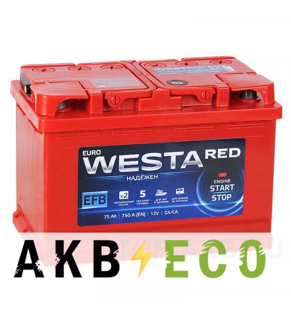 Автомобильный аккумулятор Westa RED EFB 75R 750A (278x175x190)