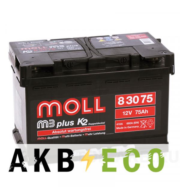 Автомобильный аккумулятор Moll M3plus 75R 680A 276x175x190