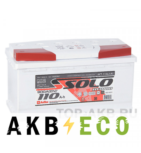 Автомобильный аккумулятор SOLO 110R (900A 353x175x190)