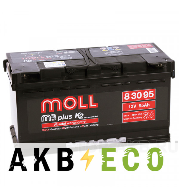 Автомобильный аккумулятор Moll M3plus 95R 850A 353x175x190
