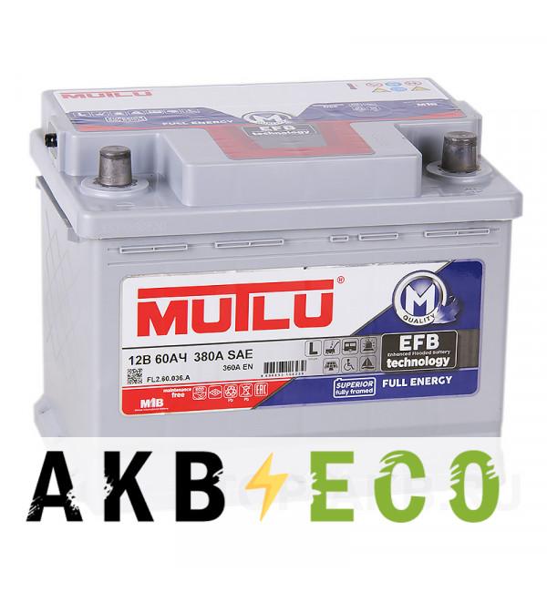 Автомобильный аккумулятор Mutlu Mega EFB 60R 360A 242x175x190