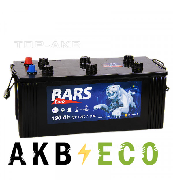 Автомобильный аккумулятор Bars 190 евро 1250A 524x239x240