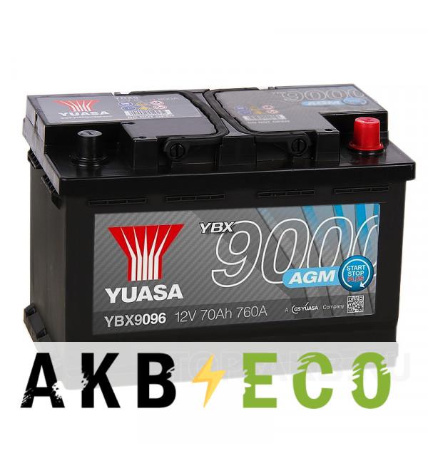 Автомобильный аккумулятор YUASA AGM 70R (760А 278x175x190) Start-Stop Plus, YBX9096