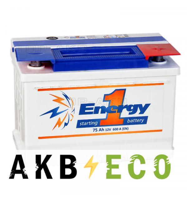 Автомобильный аккумулятор Energy ONE 75R 600А 278x175x190