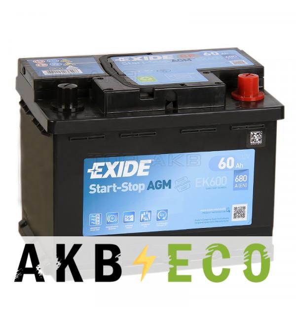 Автомобильный аккумулятор Exide Start-Stop AGM 60R (680А 242x175x190) EK600